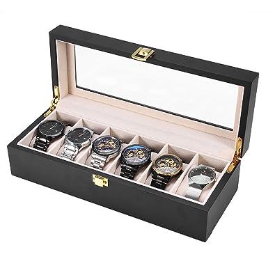 Estuche de Madera para Relojes, Caja de Relojes con 6 Compartimientos, Tapa de Vidrio, Almohadillas Extraíbles, Cierre de Metal, Caja para Almacenamiento ...