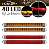 """Partsam Submersible (2xRed+2xYellow) 17"""" Inch High Power 40 LED Utility Trailer Truck RV Stop Tail Turn Signal 3rd Brake Park Marker Identification Light Bars w/Chrome Bezels"""