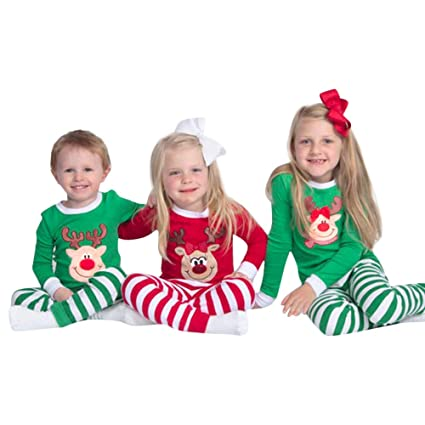 35930b29e02 WensLTD Family Matching Christmas Pajamas - Toddler Baby Brother Sister Boy  Tops + Stripe Pants Sleepwear Outfit