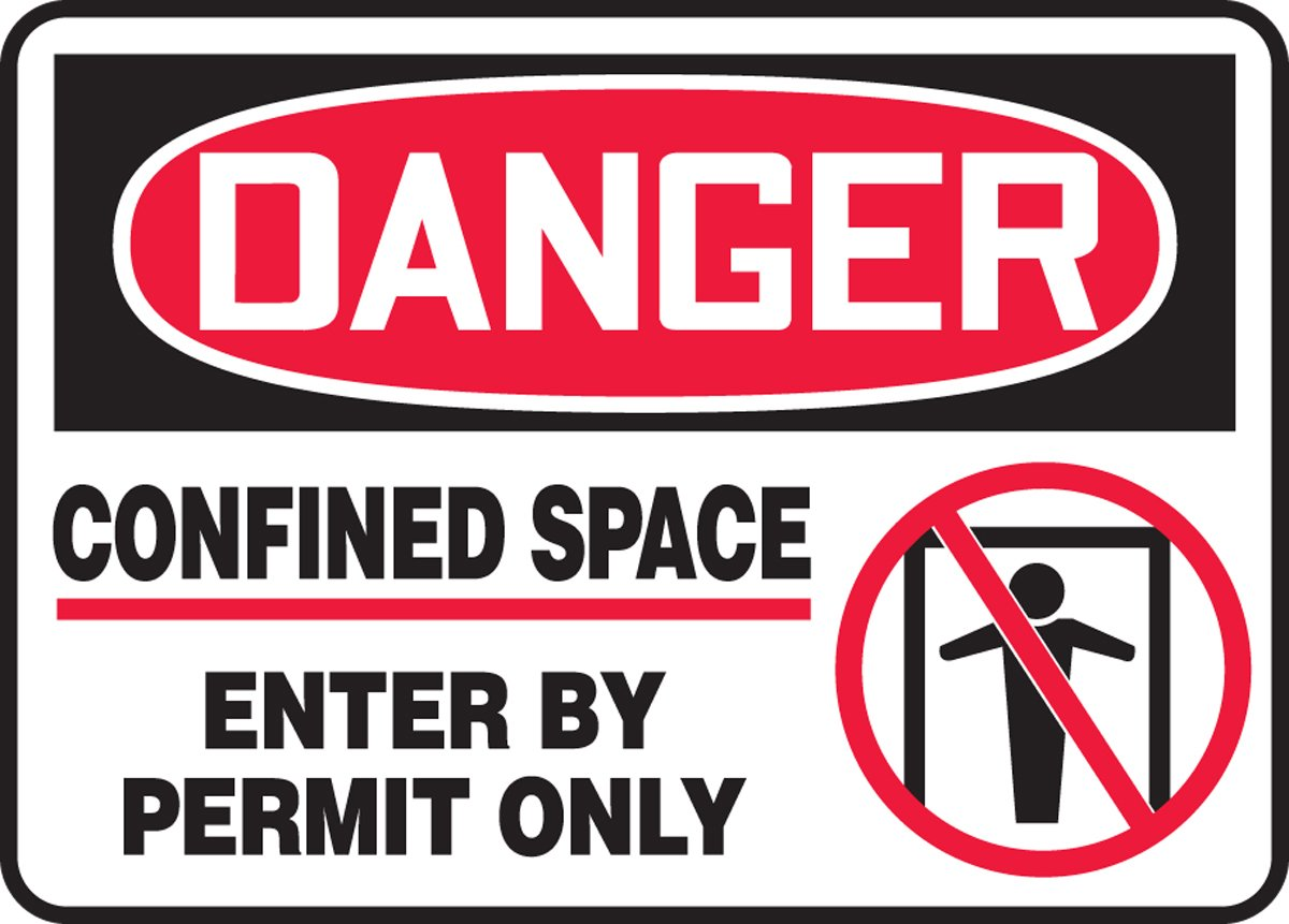 AccuformDanger Confined Space Sign Dura-Fiberglass Enter by Permit Only Confined Space MCSP014XF 10 x 14 Inches