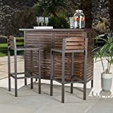 Bistro Bar, Modern/Rustic Brown Outdoor 3-Piece Milos Set (296852). Made With Durable Acacia Wood And Framed With Powder Coated Iron. - Assembly Required
