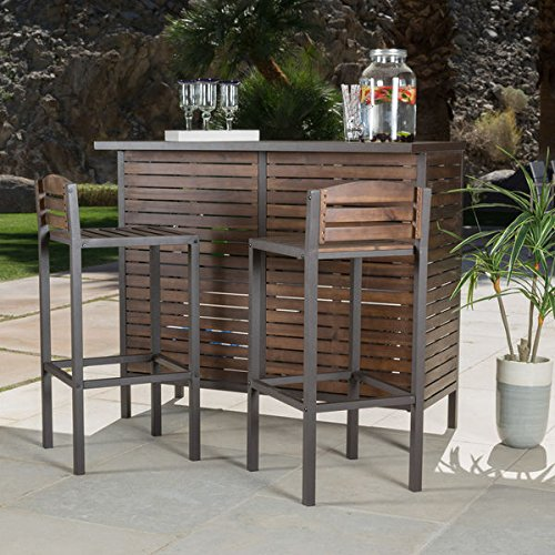 Bistro Bar, Modern/Rustic Brown Outdoor 3-Piece Milos Set (296852). Made With Durable Acacia Wood And Framed With Powder Coated Iron. - Assembly Required by Christopher Knight Home