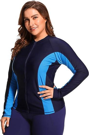PLENTOP 2019 Tankini Swimsuits for Women Plus Size,Diving Suit Women Plus Size,Rash Guard Long Sleeve Zip UV Protection Surfing Swimsuit Swimwear Bathing Suit Black