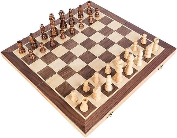 Kylinnqqaz Juego de ajedrez, Juego de Tablero de ajedrez de Madera con Pieza de ajedrez Artesanal y Ranuras de Almacenamiento for niños Adultos, Incluye Bolsa de Transporte Extra Kings Queens: Amazon.es: Hogar