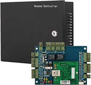 2 Doors Access Control System Core Control Components with Metal 5A 110V-240V Power Supply Box and Two Doors TCP/IP Network Access Control Panel Wiegand Controller,Computer Based Software,Remote Open