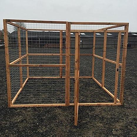 Jaula para perro, animal 2,43 x 2,43 y 1,82 m de altura, malla de alambre galvanizado de 16 g. Jaula de alambre para pollos, conejos, perros, gatos, ...
