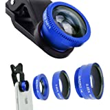 ECVILLA Universal 3 in1 Camera Lens Kit, 180° Fisheye Lens + 0.67x Wide Angle Lens + 10x Macro Lens for iPhone 7, 6s Plus, 6, 5s & Most Smartphones (Blue)