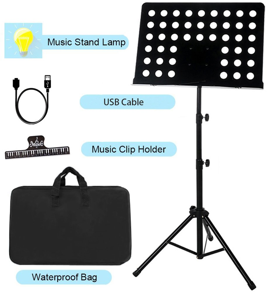 Sheet Music Stand Lunies Highest 63'' Portable Violin Guitar Music Book Holder with LED Light,Paper clip,Carrying Bag Black