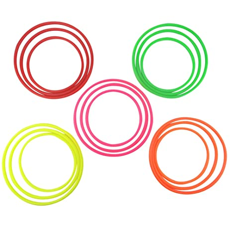 Amazon.com: SPORT BEATS 15 Pcs Plastic Toss Rings Colorful for Speed ...