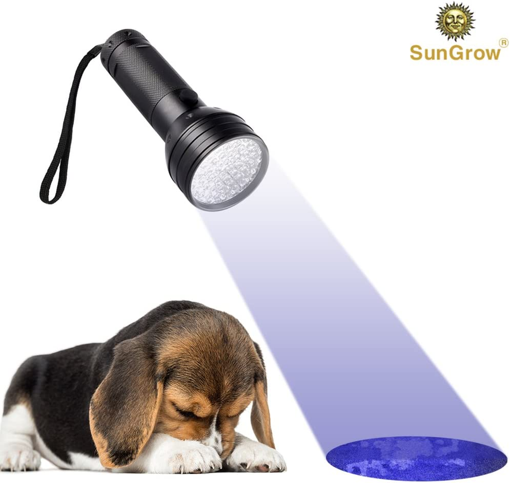 Multifunctional Torch Aluminum Alloy Material 51 Bulbs up to 395nM Spots Invisible Stains SunGrow Flashlight Handheld Super Bright Pet Urine Detector for Dog /& Cat