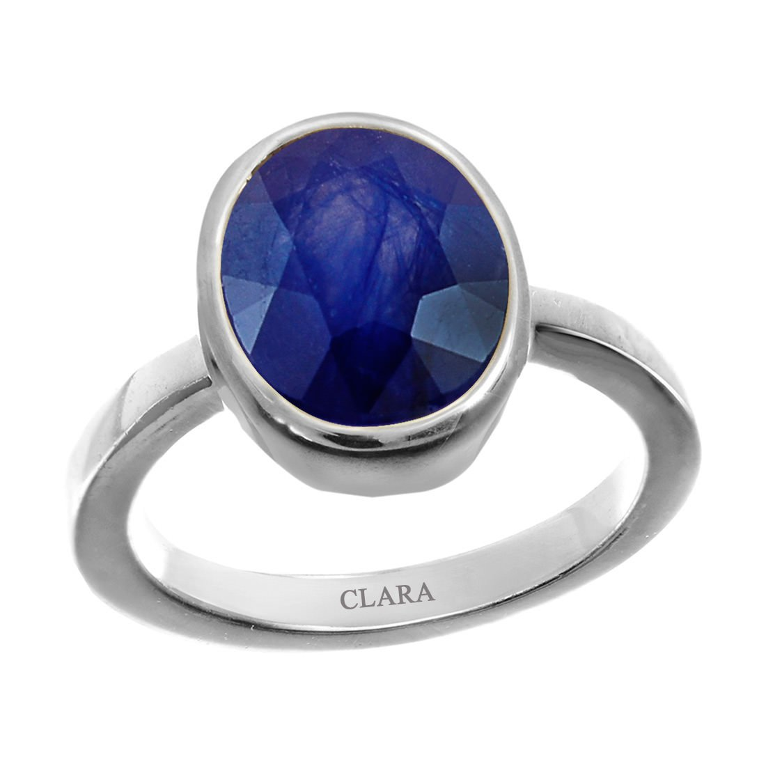 Clara Certified Blue Sapphire (Neelam) 6.5cts or 7.25ratti original stone Sterling Silver Astrological Ring for Men and Women by Clara