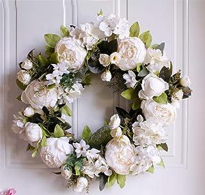 "15"" Peony Hydrangea Wreath,Artificial Peony Flower Wreath Door Wreath with Green Leaves Spring Wreath for Front Door,Wedding,Wall, Home Decor"