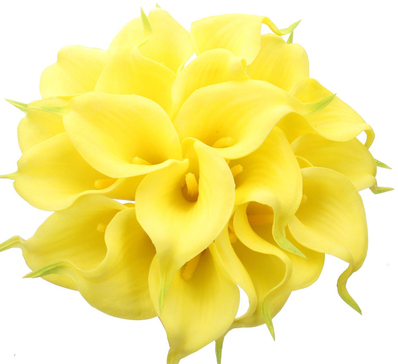 silk flower arrangements duovlo 20pcs calla lily bridal wedding bouquet lataex real touch artificial flower home party decor (yellow)