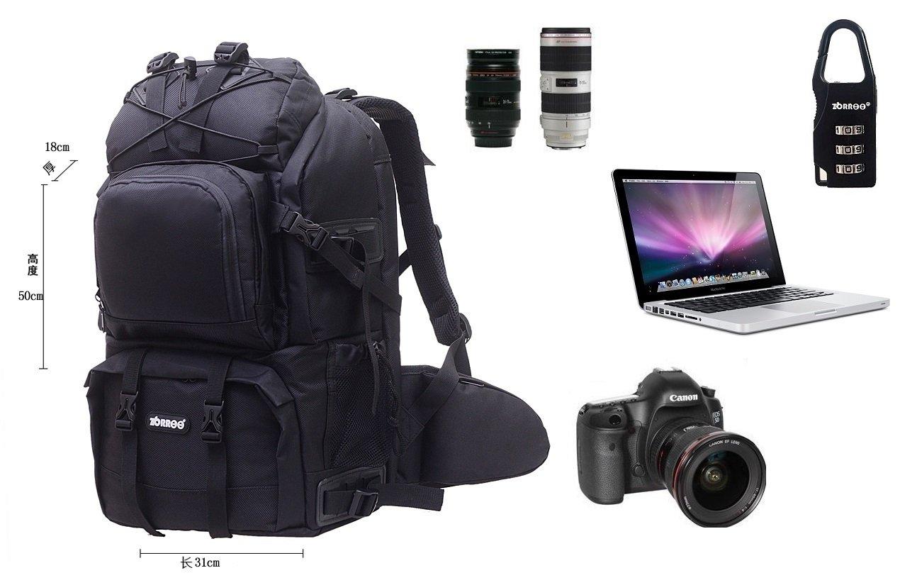 ZORROO Extra Large DSLR Camera/Laptop Travel Backpack Gadget Bag w/ Rain Cover – Black