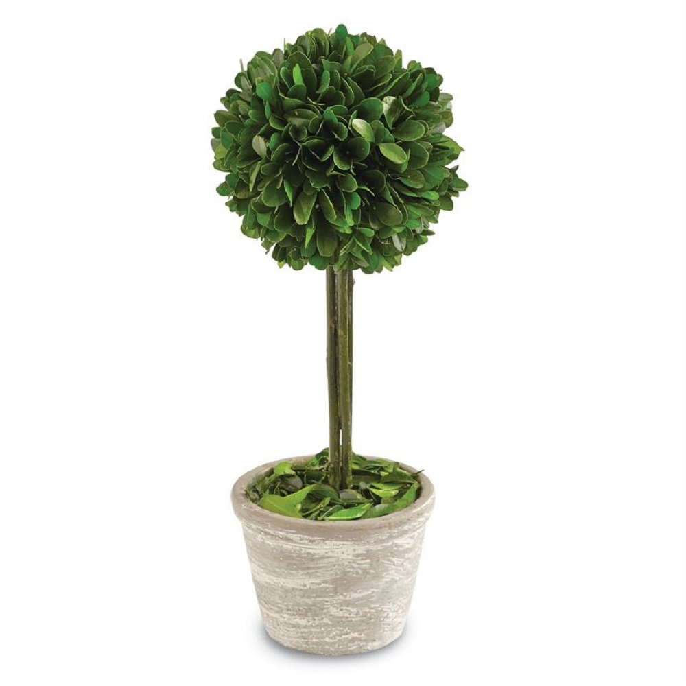 Mud Pie 4265535 Single Boxwood Topiary Home Decor Artificial Plant