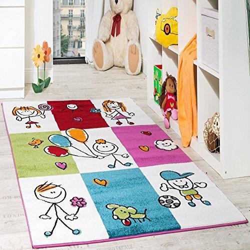 Teppich Kinderzimmer Fröhliche Kids in Karo Muster Mehrfarbig Creme Türkis Rot, Grösse:160x220 cm