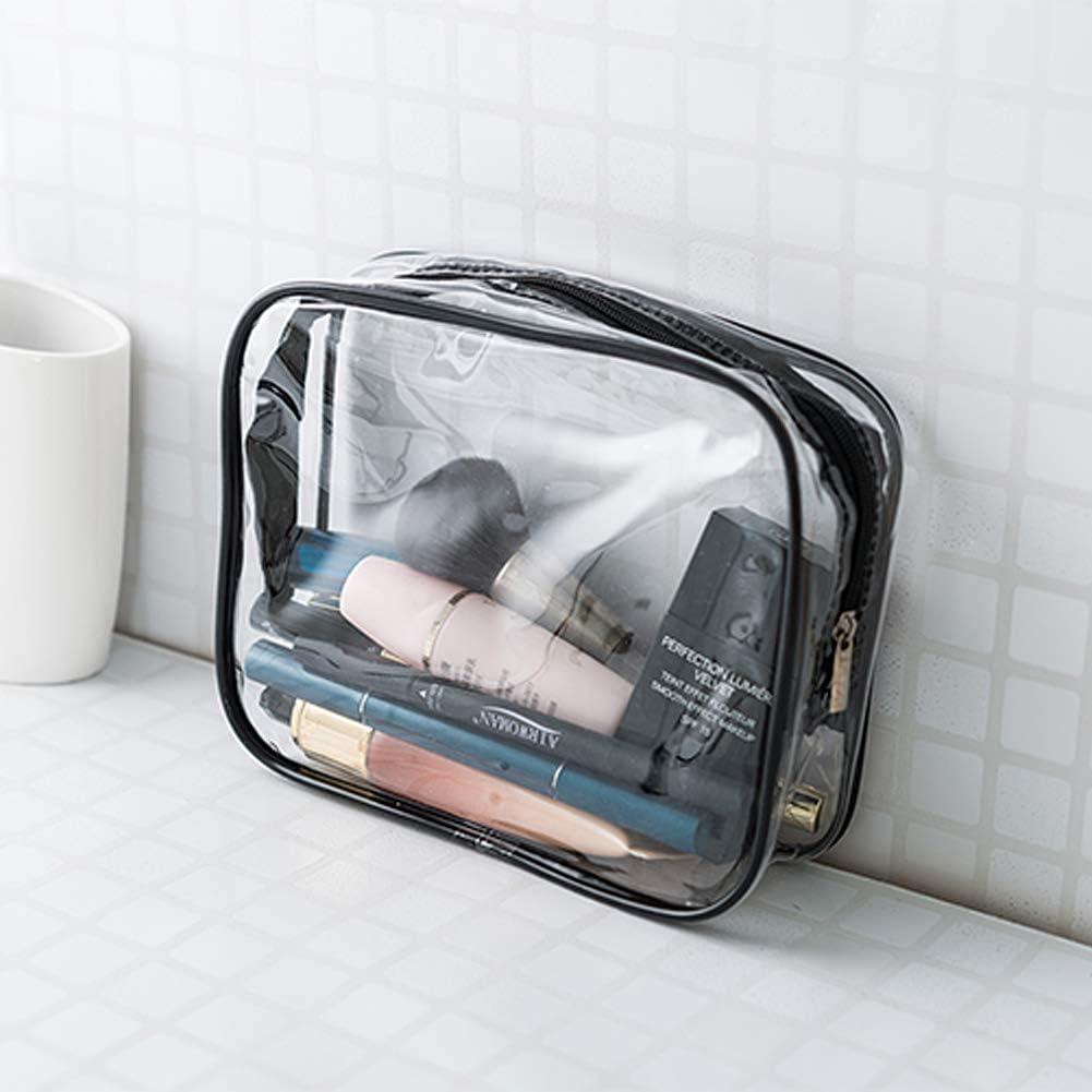 Sac de Voyage en PVC Transparent 3Pcs /Étanche Multifonction Sacs Cosmetiques//Trousse de Toilette//Trousses /à Maquillage pour Voyage Noir