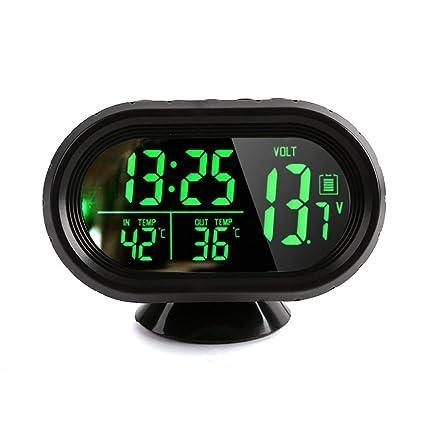 Denshine DC 12V ~ 24V Reloj Digital con Termómetro LCD Iluminación Pantalla de Voltaje del Medidor
