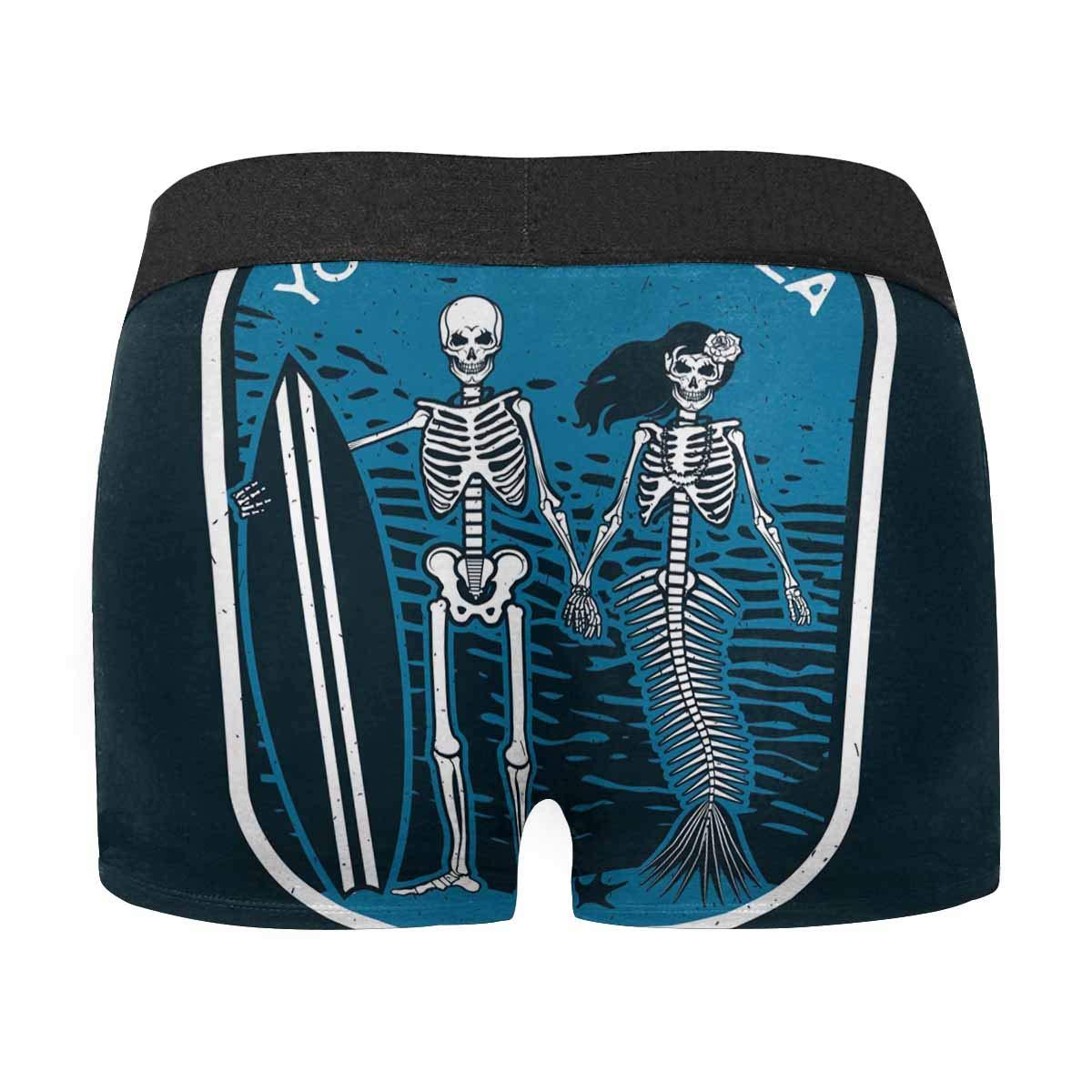 INTERESTPRINT Mens Boxer Briefs Underwear Skeleton Surfer XS-3XL