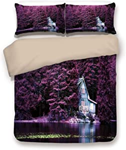 Khaki 3pc Bedding Set,Purple Trees by a Lake with Blue Wooden Rustic Lakehouse Lodge Romantic Spring Nature Full Duvet Cover Set,Printed Comforter Cover With 2 Pillowcases for Teens Boys Girls & Adult