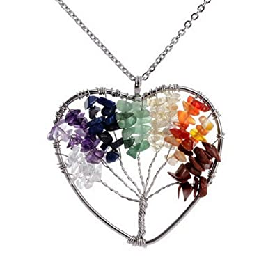 Atongham Tree Of Life Pendant Necklace Handmade Chakra Gemstone Jewelry Tree Necklaces, Great Gift For Her