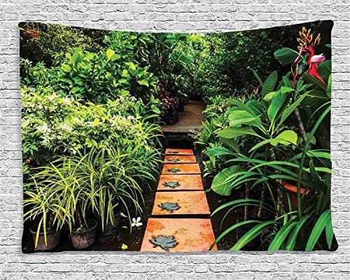 Tapestry,Hippie Tapiz,tapiz de pared con decoración para el hogar,Jardín zen, exuberante jardín con plantas tropicales y sendero de madera,para picnic Mantel o Toalla de Playa redonda 180 x 230 cm: Amazon.es: Hogar