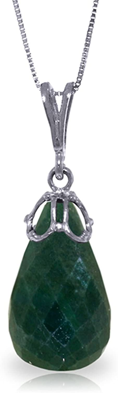 ALARRI 14.8 Carat 14K Solid White Gold Necklace Briolette Natural Emerald with 18 Inch Chain Length