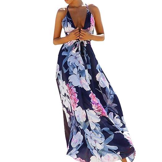 ec4a5df34d4 Women s Spaghetti Straps Halter Deep V-Neck Floral Print Dress Elegant  Sleeveless Beach Maxi Dresses