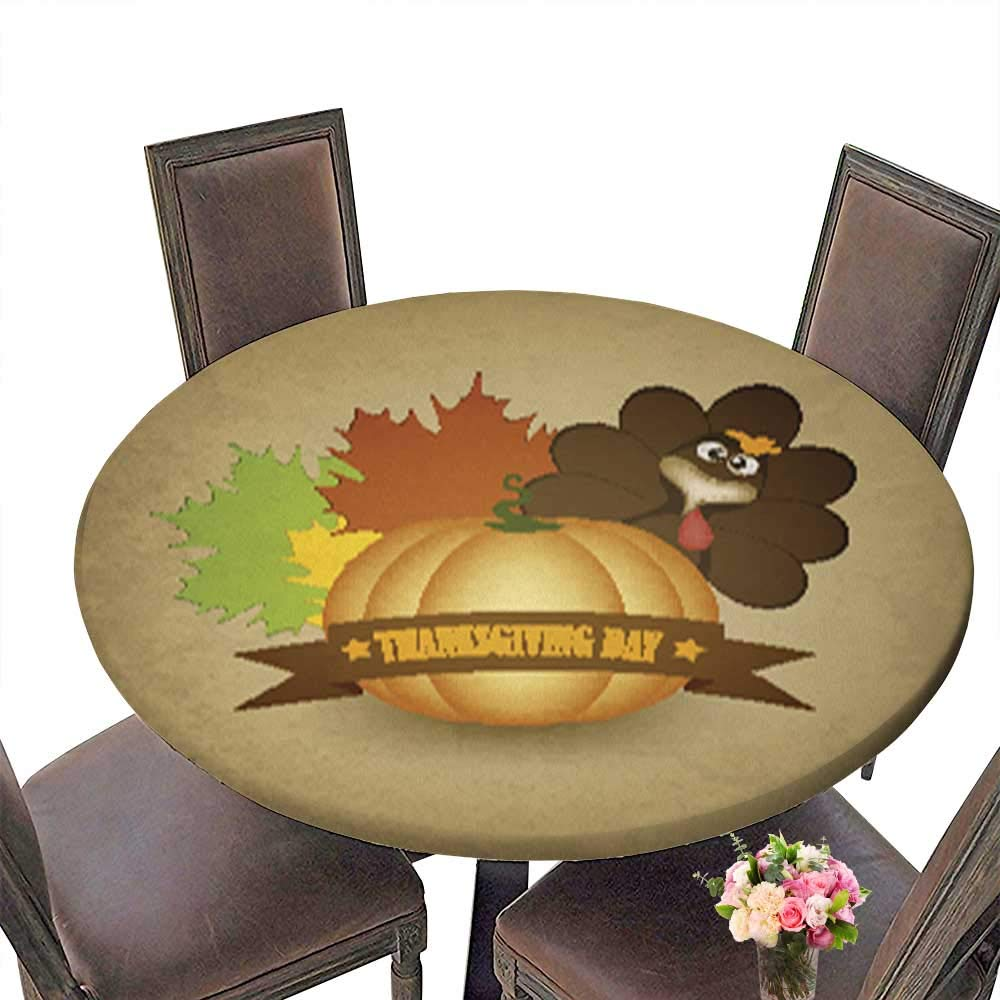 Fitted Polyester Round Tablecloth,Happy Thanksgiving Washable for Tablecloth up to 31.5''-33.5'' Diameter