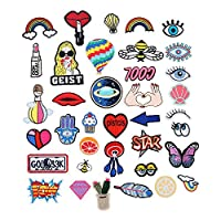 DGCUS 37PCS random assorted Iron-on or Sew-on Embroidered patch Motif Applique for Denim Jeans Jacket Handbag Shoes