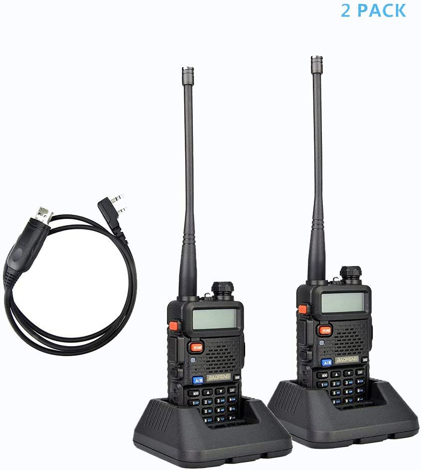 2Pack Baofeng UV-5R Dual-Band 136-174 400-480 MHz Ham Two-way Radio Programming Usb Cable Software Disk Kit Black