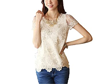 Chiffon blouse with embroidery top blusas feminina 3xl plus size women blouses summer tops at Amazon Womens Clothing store: