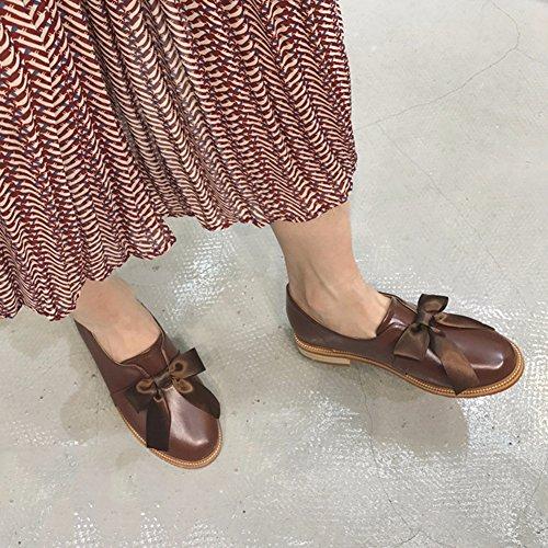 T-luglio Donna Bowknot Punta Rotonda College Style Penny Comfort Mocassini Sintetici Scarpe Fannullone Marrone