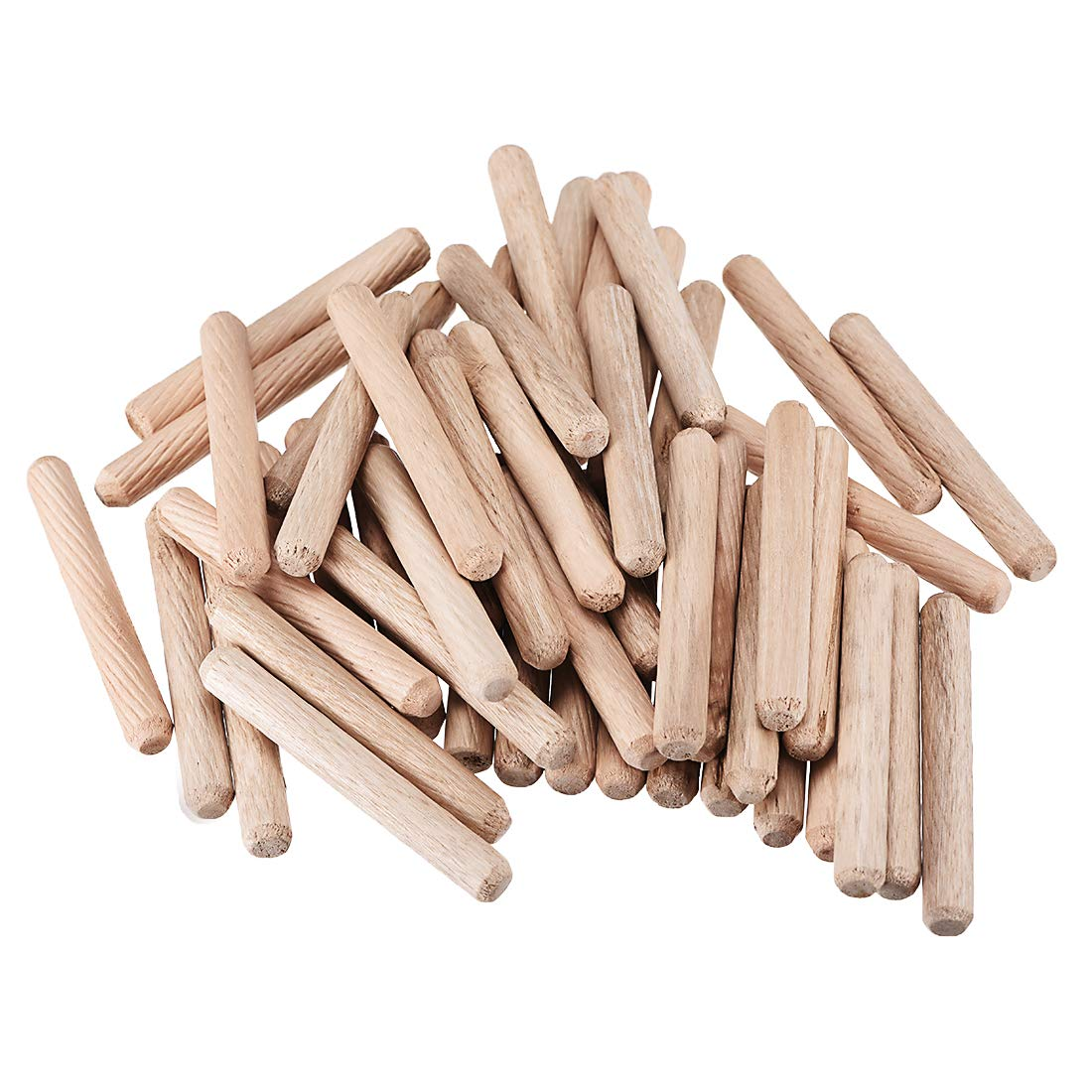 170 ASSORTED 5mm 6mm HARDWOOD DOWELS WOODEN CHAMFERED FLUTED PIN WOOD BEECHWOOD