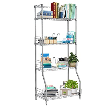 LANGRIA 4 Tier Wire Bookcase Metal Shelving For Home Organisation, Office  Storage, Max