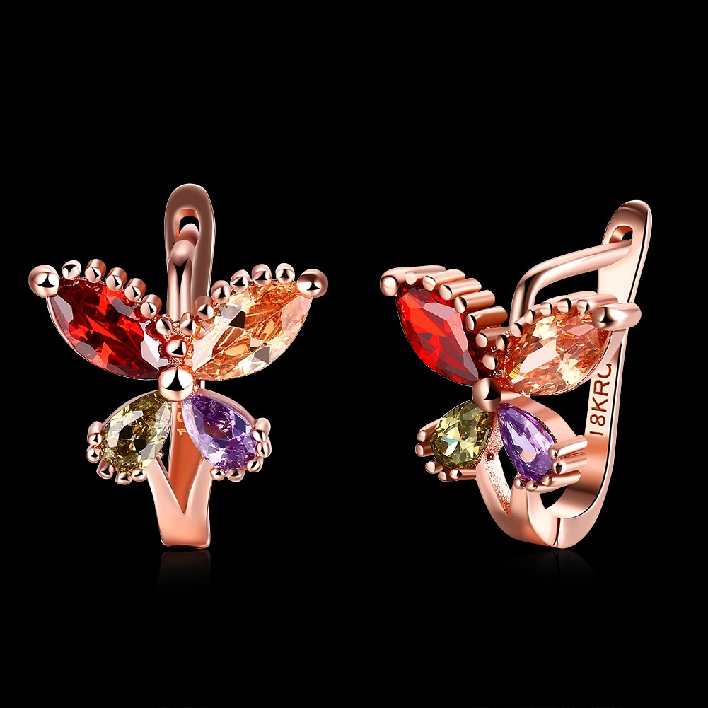 DCC FIONNI Butterfly Elements 925 Sterling Silver Crystal Earrings for Woman Jewelry Made with Cubic Zirconia Jewelry Gifts for Girls with a Luxury Jewelry Packing