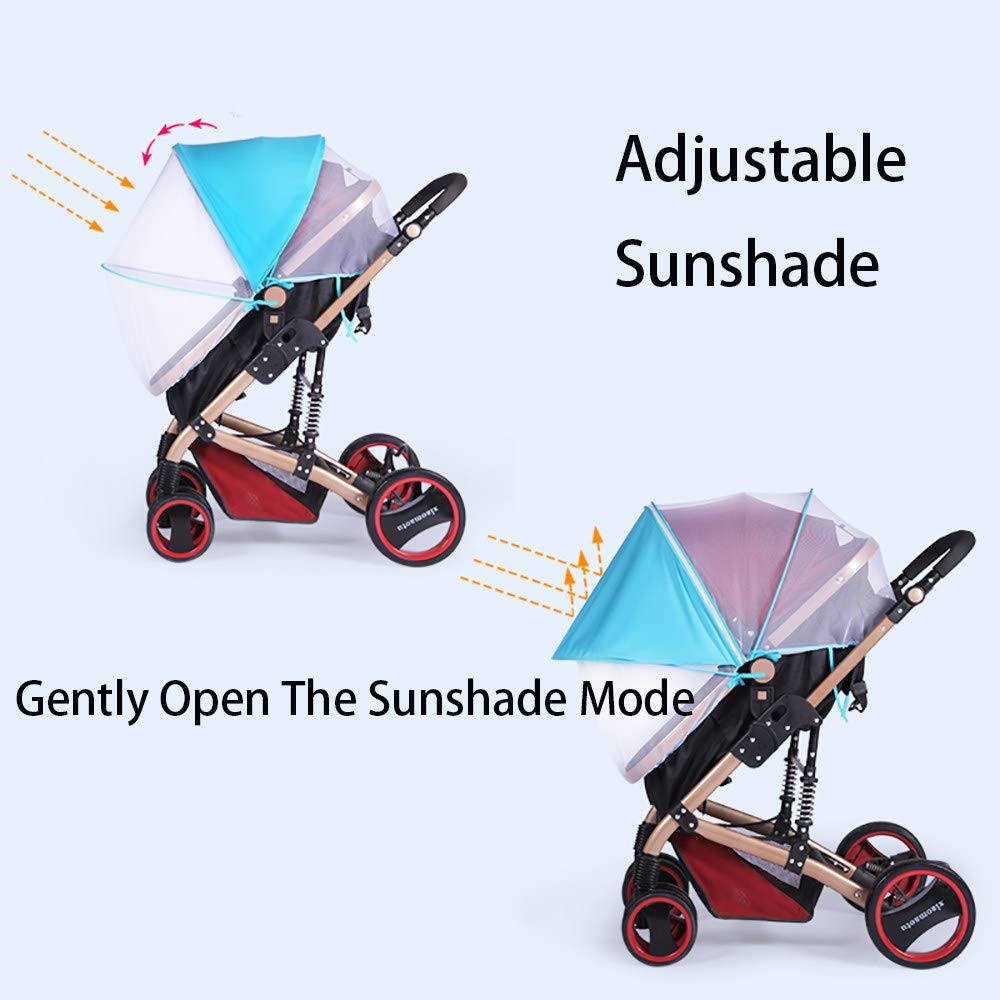 2-in-1 Baby Stroller Mosquito Net&Sun Shade Canopy,Baby Stroller Sun Shade Canopy,Universal Baby Sunshade,Sleep Aid for Pushchairs,Black by ACOMG (Image #2)
