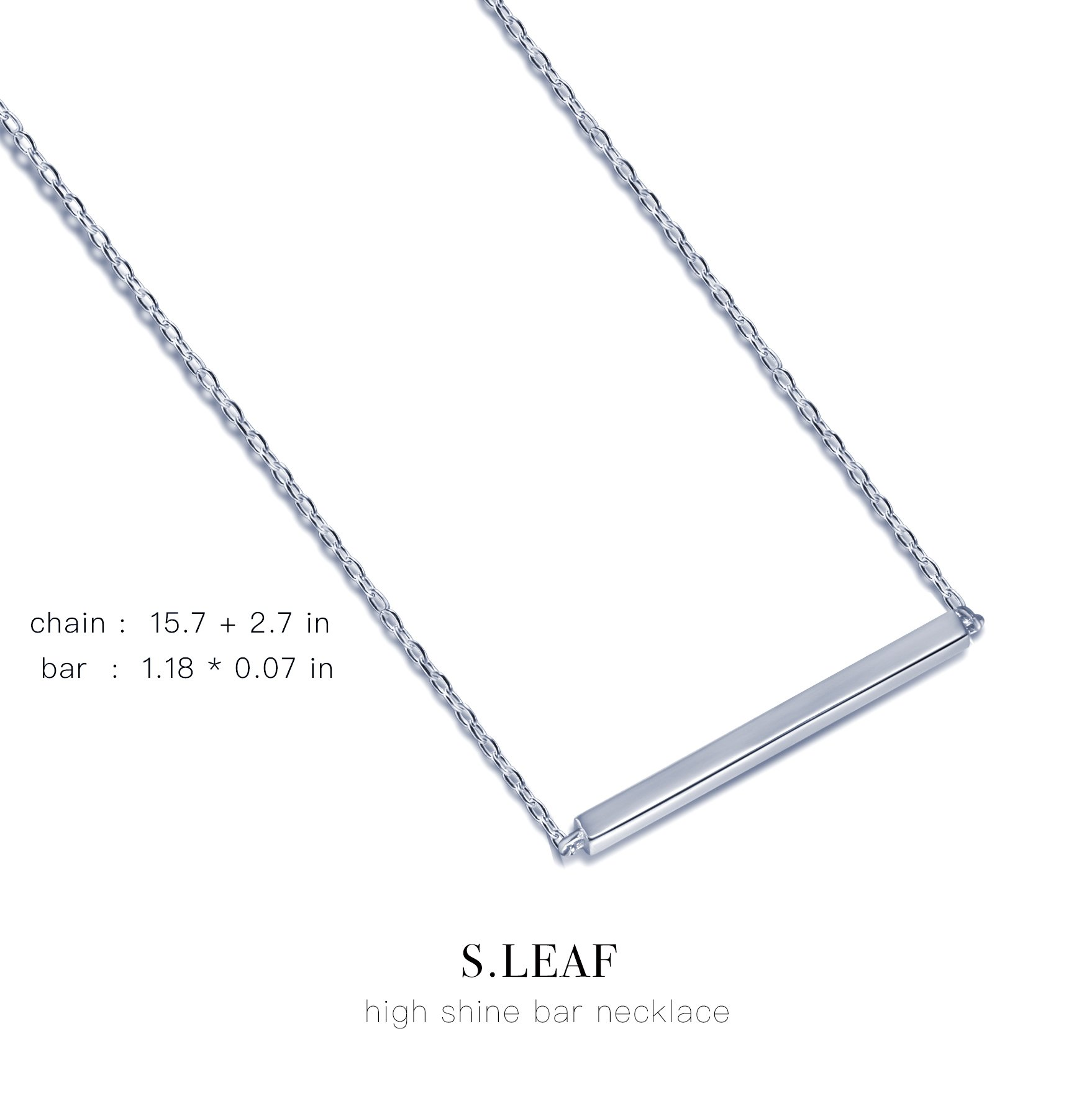 S.Leaf Bar Necklace Sterling Silver Minimalism Line Necklace Horizontal Bar Necklace (Necklace-White Gold) by S.Leaf (Image #5)