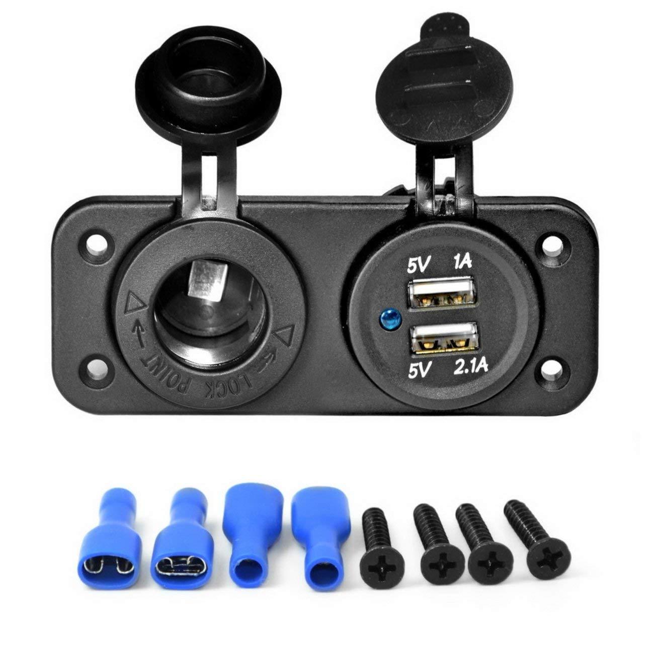 Ballylelly Accesorios para autom/óviles Cargador de Coche con Pantalla Digital USB Dual Encendedor de Cigarrillos port/átil para Coche con Cargador de Coche con Pantalla LED