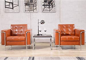 Flash Furniture HERCULES Lesley Series Contemporary Cognac LeatherSoft Chair with Encasing Frame