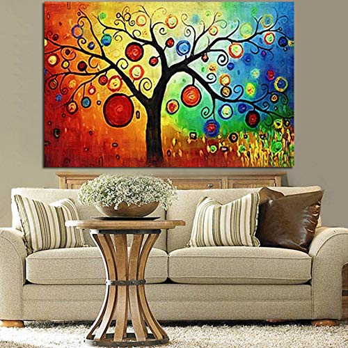 YJFFBH Multiple Watercolor Apple Tree Abstract Oil Painting Hd Print On Canvas Art Wall Picture for Living Room Sofa Decoration