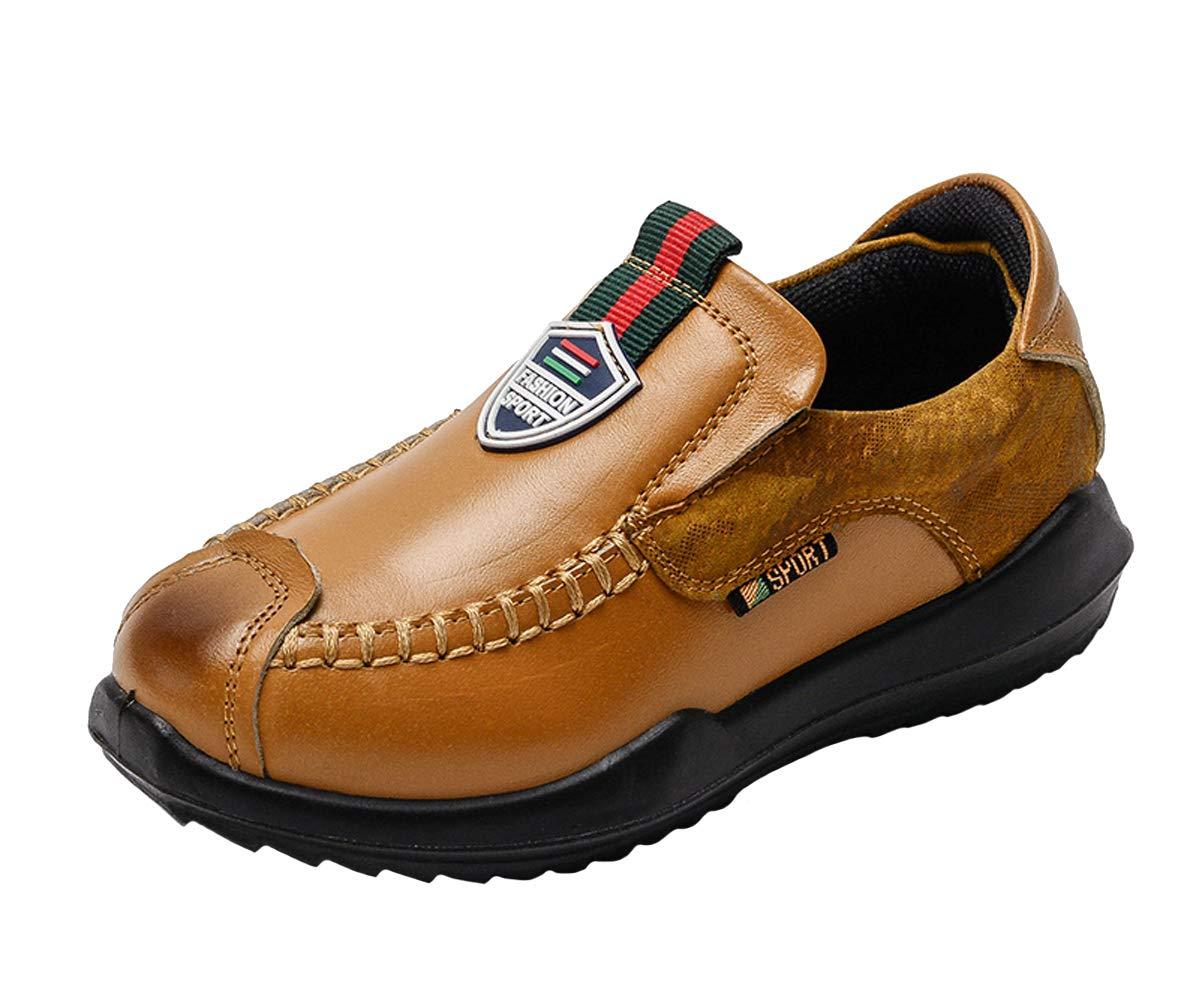 WUIWUIYU Boys' Fashion British Style Slip-On Oxfords Sneakers Casual Shoes Yellow Size 11.5 M