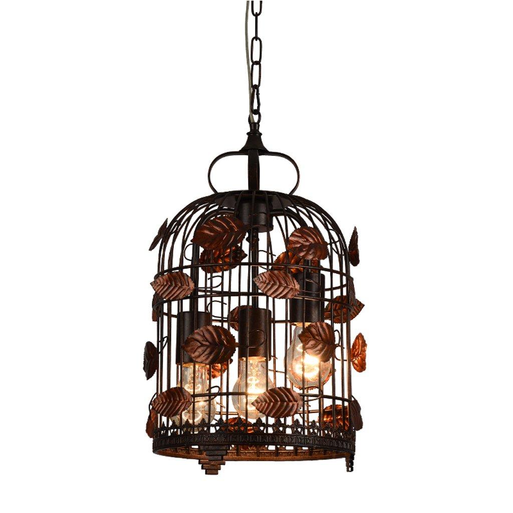 Vampsky 3灯産業クリエイティブ鉄金属鳥かごシャンデリアランプ中国花葉調整可能なe27エジソン天井ペンダントライトキッチンレストランダイニングルーム納屋倉庫吊りランプ (サイズ : L) B07SCM1993  Large