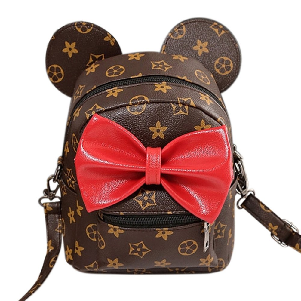 Women Backpack Fashion Cute Bowknot Backpack Multipurpose PU Leather Shoulder Bag