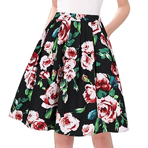 Taydey A-Line Pleated Vintage Skirts for Women (M, Pink - Gathered Skirt Waist