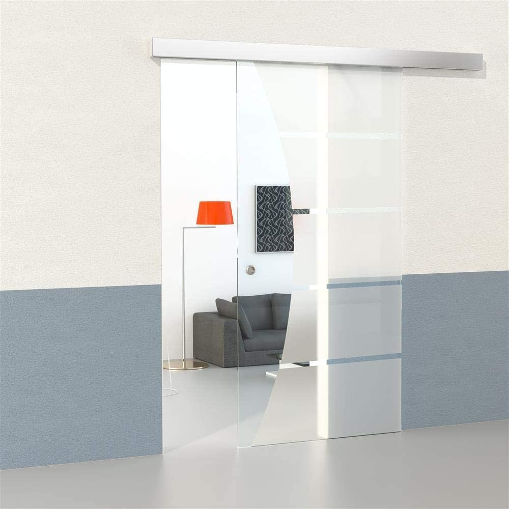 Set de puerta corredera de cristal con 5 tiras de cierre suave + campo transparente 2050 mm x 1050 mm x 8 mm puerta corredera puerta de cristal puerta interior puerta de