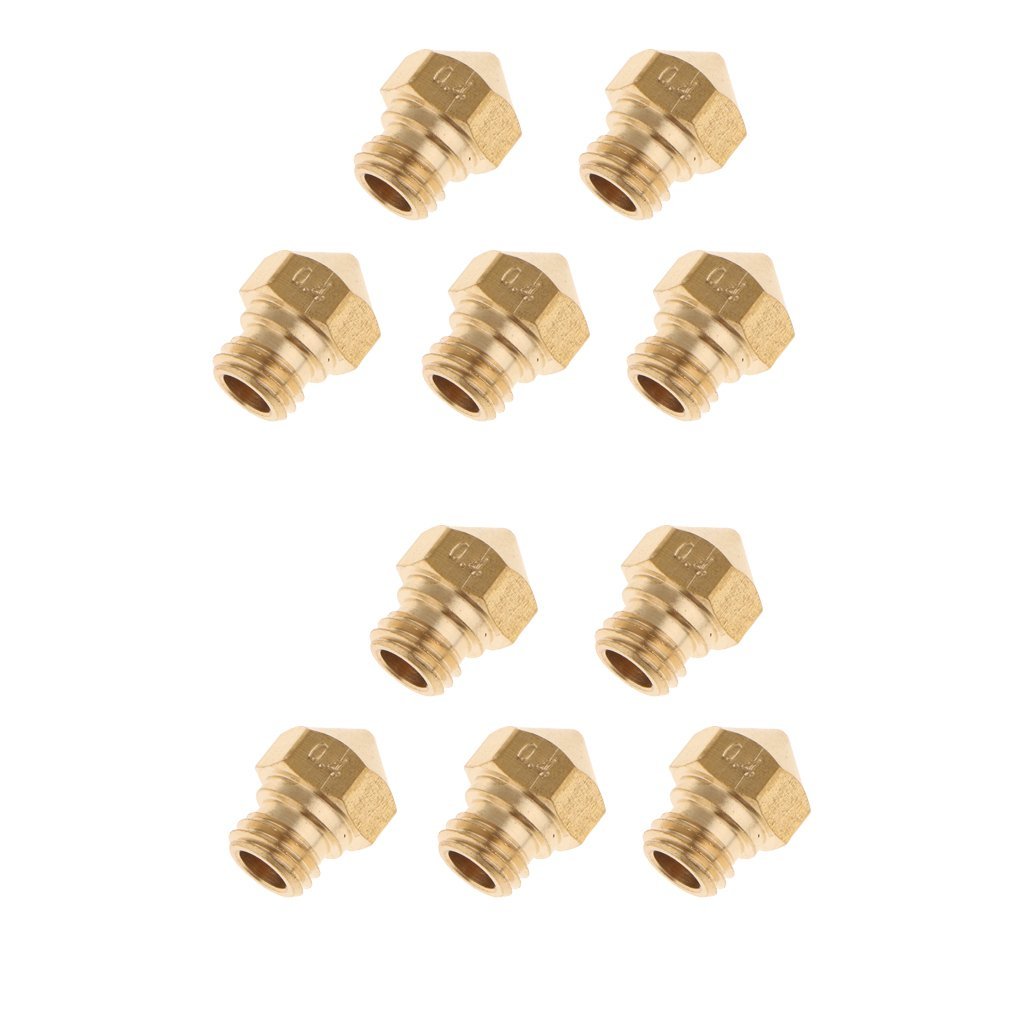 MagiDeal 10 Pieces Metal Extruder PrintHead Nozzle For 1.75MM MK10 3D Printer 0.4mm STK0119376449