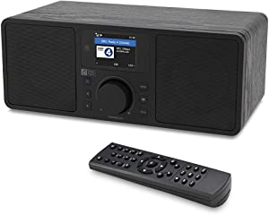 "Ocean Digital WiFi/FM Internet Radio WR230S Alarm Clock Radio with Bluetooth Receiver & Ethernet Port, Stereo Speakers, Line Out, Aux in, 20,000+ Stations, 2.4"" Color Display- Black in Wooden Case"