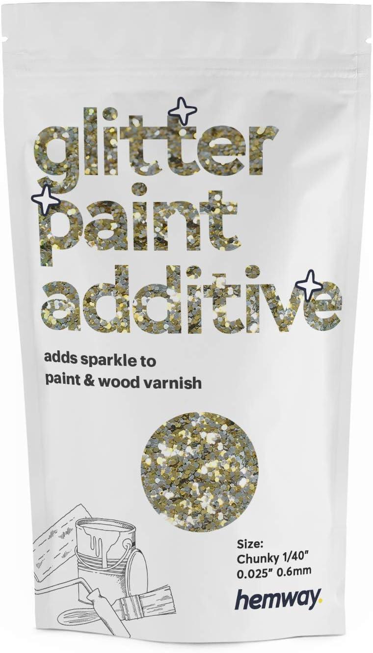 Hemway Glitzerlackzusatz Klobig 1 40 0 025 0 6mm Mischfarben Auf Wasserbasis Für Wand Decke 100g Gold Silber Baumarkt