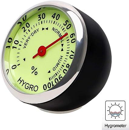 Wuudi 3 Pcs Auto Thermometer Auto Hygrometer Tragbar Rund Instrument Panel Thermometer Für Auto Suv Lkw Mit Leuchtend Auto